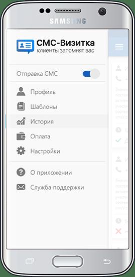 Пример интерфейса приложения смс - визитки